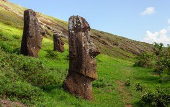 Statues on Isla de Pascua. Rapa Nui. Easter Island